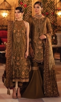 Shirt Front: Embroidered Net (1 y) Shirt Back : Embroidered Net (1 y) Sleeves: Embroidered Net (0.85 y) Shirt Front & Back Lace : Embroidered Organza (1.90 y) Shirt Front Lace: Embroidered Velvet (0.95 y) Shirt Back & Sleeves Lace: Embroidered Velvet (2 y) Sleeves Lace: Embroidered Organza (1 y) Dupatta: Embroidered Pure Maori Net (1.55 y) Dupatta Pallu : Embroidered Net(2.75 y) Dupatta Lace 1 : Embroidered Organza (4 sided) (8.5 y) Dupatta Lace 2 : Embroidered Velvet (4 sided) (8.5 y) Neckline: Embroidered Organza (1 Piece) Shirt Inner: : Pure Tissue (2.5 y) Trouser: Dyed Raw Silk (2.5 y)