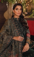 Shirt Front: Embroidered Chiffon (1 y) Shirt Back : Embroidered Chiffon (1 y) Neckline: Embroidered Velvet (1 Piece) Sleeves: Embroidered Chiffon (0.70 y) Shirt Front & Back Lace 1: Embroidered Organza (1.85 y) Shirt Front & Back Lace 2: Embroidered Velvet(1.85 y) Sleeves Lace: Embroidered Organza (1 y) Sleeves Lace 2: Embroidered Organza (1 y) Sleeves Lace 3: Embroidered Organza (1 y) Dupatta: Embroidered Pure Masoori Net (2.1 y) Dupatta Pallu 1: Embroidered Silk(2.75 y) Dupatta Pallu 2: Embroidered Silk(2.75 y) Dupatta Pallu 3: Embroidered Organza(2.75 y) Dupatta Pallu 4: Embroidered Organza(2.75 y) Dupatta Lace : Embroidered Organza (4 sided) (8.5 y) Trouser: Dyed Raw Silk (2.5 y)