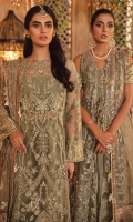 Shirt Front: Embroidered Net with Adda Work (0.85 y) Shirt Back : Embroidered Net (0.85 y) Sleeves: Embroidered Net with Adda Work (0.70 y) Shirt Front Lace : Embroidered Organza with Adda Work (1 y) Shirt Back Lace : Embroidered Organza (1 y) Sleeves Lace: Embroidered Zari Organza with hand embellished (1 y) Dupatta: Embroidered Net (1.9 y) Dupatta Pallu 1: Embroidered Organza(2 Pieces) Dupatta Pallu 2: Embroidered Organza(2.75 y) Dupatta Pallu 3: Embroidered Silk(2.75 y) Dupatta Pallu 4: Embroidered Organza(2.75 y) Dupatta Lace : Embroidered Organza (4 sided) (8.5 y) Trouser: Dyed Jamawar (2.5 y)