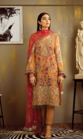 Shirt Front: Embroidered Chiffon Shirt Back: Embroidered Chiffon Sleeves: Embroidered Chiffon Dupatta: Embroidered Chiffon Sleeves Lace: Embroidered Organza Neck Line: Embroidered Organza with Ada Work Daman: Embroidered Organza with Ada Work Trouser: Dyed Raw Silk