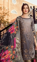 Shirt Front: Digital Printed Embroidered Lawn Shirt Back & Sleeves: Digital Printed Lawn Dupatta: Digital Printed Pure Tissue Silk Neck Lace: Organza Embroidered Sleeves Lace: Organza Embroidered Trouser: Dyed C...