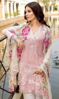 Shirt Front: Digital Printed Embroidered Lawn Shirt Back & Sleeves: Digital Printed Lawn Dupatta: Embroidered Chiffon Neck Lace: Organza Embroidered Trouser: Embroidered Cambric