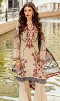 Shirt Front: Lawn Embroidered Shirt Back: Digital Printed Lawn Sleeves: Lawn Embroidered Dupatta: Digital Printed Pure Tissue Silk Daman Lace: Organza Embroidered Sleeves Lace: Organza Embroidered Trouser:...