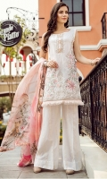 Shirt Front: Lawn Embroidered Shirt Back: Digital Printed Lawn Sleeves: Lawn Embroidered Dupatta: Digital Printed Pure Tissue Silk Daman Lace: Organza Embroidered  Sleeves Lace: Organza Embroidered Trou...