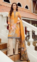 Shirt Front: Digital Printed Embroidered Lawn Shirt Back & Sleeves: Digital Printed Lawn Dupatta: Digital Printed Pure Tissue Silk Daman Lace: Organza Embroidered Neck Lace: Organza Embroidered Trouser...