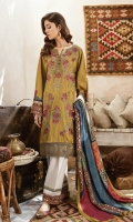 Shirt Front: Embroidered Digital Printed Linen Shirt Back & Sleeves: Digital Printed Linen Dupatta: Digital Printed Shawl Trouser: Dyed Linen Front & Back Daman Lace: Embroidered Organza