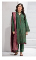 Shirt Front: Embroidered Lawn Shirt Back & Sleeves: Dyed Lawn Daman Lace: Embroidered Lawn Neck Lace: Embroidered Organza Sleeves Lace: Embroidered Organza Dupatta: Dyed Cotton Jacquard Shawl Trouser: Dyed Cambric
