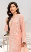 Shirt Front: Embroidered jacquard Shirt Back: Dyed jacquard Sleeves: Embroidered jacquard Daman Lace: Embroidered jacquard Sleeves lace: Embroidered jacquard Dupatta: Embroidered Organza Trouser: Dyed Cambric