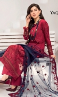 Shirt Front: Embroidered Lawn Shirt Back: Dyed Lawn Sleeves: Embroidered Lawn Daman Lace: Embroidered Lawn Sleeves Patch: Embroidered Organza Dupatta: Embroidered Net Trouser: Dyed Cambric