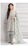 Shirt Front: Embroidered Lawn Shirt Back: Dyed Lawn Sleeves: Embroidered Lawn Daman Lace: Embroidered Organza Sleeves Lace: Embroidered Organza Dupatta: Embroidered chiffon Trouser: Dyed Cambric