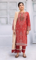 Shirt Front: Embroidered Lawn Shirt Back: Dyed Lawn Sleeves: Embroidered Lawn Daman Lace: Embroidered Lawn Sleeves Lace: Embroidered Organza Dupatta: Cotton Jacquard Shawl Trouser: Dyed Cambric