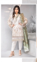 Shirt Front: Embroidered Lawn Shirt Back: Dyed Lawn Sleeves: Embroidered Lawn Daman Lace: Embroidered Organza Sleeves Lace: Embroidered Organza Dupatta: Dyed Cotton Jacquard Shawl Trouser: Dyed Cambric