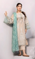 Shirt Front: Embroidered Lawn Shirt Back: Dyed Lawn Sleeves: Embroidered Lawn Daman Lace: Embroidered Lawn Sleeves Lace: Embroidered Organza Dupatta: Embroidered chiffon Trouser: Dyed Cambric