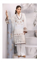 Shirt Front: Embroidered Lawn Shirt Back: Dyed Lawn Sleeves: Embroidered Lawn Daman Lace: Embroidered Organza Sleeves Lace: Embroidered Organza Dupatta: Embroidered Organza Trouser: Dyed Cambric