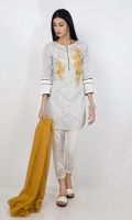 EMB Lawn Shirt with Printed Crickle Chifoon Duppata 2 Piece suit  Shirt + Dupatta