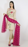 EMB Lawn Shirt with Crickle Chifoon Duppata 2 Piece suit  Shirt + Dupatta