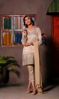 Embroidered Shirt, Jacquard Trouser Chiffon Dupatta 3 Piece suit  Shirt+ Trouser + Dupatta