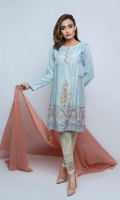 Embroidered Lawn Frock with Printing  Shirt + Duppata