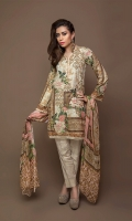 Digital Masoori Lawn Shirt With organza Sleeves With Hem & Beed Work with net Duppata