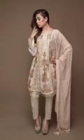 Emb Shirt Jacquard trouser & printed Chiffon Duppata Shirt+duppata+Trouser