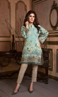 Digital Masoori lawn Shirt with Organza Sleeves & hem & Beeds Work