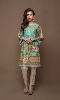 Digital Masoori Lawn Shirt With organza Sleeves With Hem & Beed Work