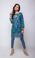 Digital Lawn Shirt With Emb Neckline & border Shirt