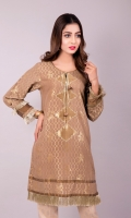 Golden Jacquard Shirt with tassels on front & Lace on sleeves Jacquard 1 Pc(Shirt Only)
