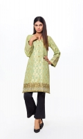Golden Jacquard Shirt with Embroidery border on sleeves & Hem Jacquard 1 Pc(Shirt Only)