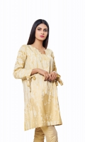 Golden Jacquard Shirt with pleated side panels & knotted Sleeves Jacquard 1 Pc(Shirt Only)