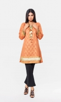 Orange Jacquard Shirt With Tessal On Front Jacquard 1 Pc(Shirt Only)