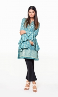 Blue Jacquard Shirt With Frill Sleeves & Emb On Front Jacquard 1 Pc(Shirt Only)