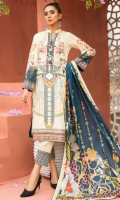 PRINTED FRONT 1.15M PRINTED BACK & SLEEVES 1.85M DYED TROUSER 2.5M LAWN DUPATTA 2.5M EMBROIDERED MOTIF 1 EMBROIDERED BORDER 0.75M EMBROIDERED LACE 1M