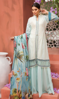 EMBROIDERED FRONT 1.15M PRINTED BACK & SLEEVES 1.85M DYED TROUSER 2.5M LAWN DUPATTA 2.5M EMBROIDERED LACE 1M