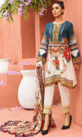 PRINTED FRONT 1.15M PRINTED BACK & SLEEVES 1.85M DYED TROUSER 2.5M CHIFFON DUPATTA 2.5M EMBROIDERED NECKLINE 0.5M EMBROIDERED BORDER 0.75M EMBROIDERED LACE 1M