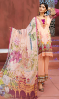 PRINTED FRONT 1.15M PRINTED BACK & SLEEVES 1.85M DYED TROUSER 2.5M CHIFFON DUPATTA 2.5M EMBROIDERED NECKLINE 1M EMBROIDERED BORDER 0.75M EMBROIDERED LACE 1M