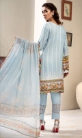 PRINTED & EMBROIDERED FRONT 1.15M PRINTED BACK & SLEEVES 1.85M DYED TROUSER 2.5M CHIFFON DUPATTA 2.5M EMBROIDERED LACE 1.25M