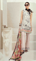 Printed and Embroidered front 1.25 M Printed back and sleeves 1.9M Printed trouser 2.5 M Chiffon Dupatta 2.5M