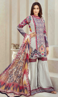 Printed and Embroidered front 1.25 M Printed back and sleeves 1.9M Printed trouser 2.5 M Chiffon Dupatta 2.5M Embroidered Lace 1M