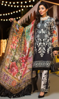 EMBROIDERED FRONT 1.25M PRINTED BACK & SLEEVES 1.9M PRINTED JACQUARD TROUSER 2.5M CHIFFON DUPATTA 2.5M EMBROIDERED LACE 1M EMBROIDERED BORDER 0.75M EMBROIDERED PANNEL 1