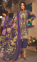 PRINTED FRONT 1.25M PRINTED BACK & SLEEVES 1.9M DYED JACQUARD TROUSER 2.5M SHIFLEY CHIFFON DUPATTA 2.5M EMBROIDERED LACE 1M EMBROIDERED PANNEL 1