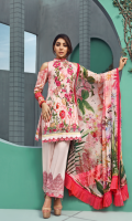 Printed and Embroidered front 1.25 M Printed back and sleeves 1.9M Printed trouser 2.5 M Chiffon Dupatta 2.5M Embroidered Border 0.75M