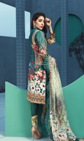 Printed front 1.25 M Printed back and sleeves 1.9M Dyed trouser 2.5 M Chiffon Dupatta 2.5M Embroidered Motif 1 and Embroidered lace 0.9M