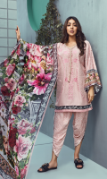 Dyed and Embroidered front 1.25 M Printed back and sleeves 1.9M Printed trouser 2.5 M Chiffon Dupatta 2.5M Embroidered Panel 0.3M