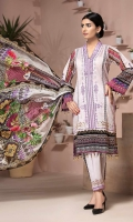 PRINTED & EMBROIDERED FRONT 1.25M PRINTED BACK & SLEEVES 1.9M DYED TROUSER 2.5M CHIFFON DUPATTA 2.5M EMBROIDERED LACE 1M