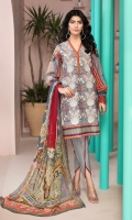EMBROIDERED FRONT 1.25M PRINTED BACK & SLEEVES 1.9M DYED TROUSER 2.5M CHIFFON DUPATTA 2.5M