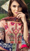 Printed and embroided front 1.25 M Printed back and sleeves 1.9M Printed trouser 2.5 M Chiffon Dupatta 2.5M
