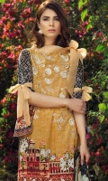 Printed and embroided front 1.25 M Printed back and sleeves 1.9M Printeded trouser 2.5 M Chiffon Dupatta 2.5M