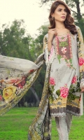 Printed front 1.25 M Printed back and sleeves 1.9M Printed trouser 2.5 M Chiffon Dupatta 2.5M, Embroidered Motif 1