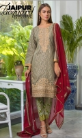 embroidered jacquard unstitched 3pc suit